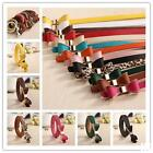 HO US Free Shipping New  Lady PU Faux Leather Bow Long Lank Cute Belt 17 Colors