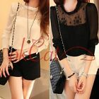 Fashion Chic Women Ladies Long Sleeve Stand-up Collar Tops Blouse Shirt