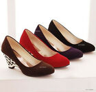 New Womens Ladies Girls Suede Wedge Heel Pumps Fashion Shoes AU Size Z007