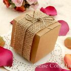 50/100 Rustic Kraft Wedding Favour Boxes with/out Jute Twine, Burlap, Flowers