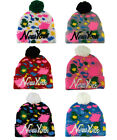 Original - New York NY Splash Print Pull On Bobble Pom Pom Beanie Cap Hat