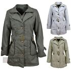 LADIES FITTED TRENCH COAT WOMENS FAUX FUR LINED MAC JACKET 3 COLOURS SIZE 10-14