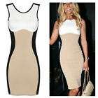 Women Optical Illusion Contrast Bodycon Slimming Fitted Black Celeb Party Dress