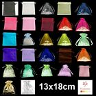 1, 10, 25, 50 or 100 Organza Bags / Jewellery Pouches 13x18cm Various Colours UK