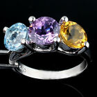 Hot Luxury Genuine Topaz Citrine Amethyst Silver Ring