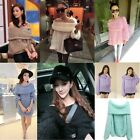 Womens Sexy Off Shoulder Cowl Neck Loose Casual Knitwear Pullover Sweaters Tops