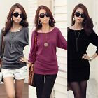 Women's Casual Crew Neck Batwing Loose T-Shirt Dolma Long Sleeves Blouse Tops