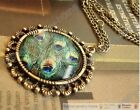 Vintage Antique Style Peacock Leather Round Chain Necklace Pendant