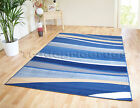 SMALL - EXTRA LARGE BLUE HORIZON WAVE MODERN CHEAP FUNKY STRIPED SOFT RUG
