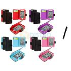 For iPhone 4 4G 4S Color Wallet Leather Folio Case Cover Pouch+Stylus Pen