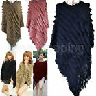 Lady Asym Tassels Striped Crinkle Jumper Kint Blouse Pullover Wrap Shawl Sweater