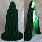 Green Hooded Cloak Halloween Wedding MEDIEVAL Robe Cape Velvet Stock Size S-XXL