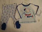 Absorba 0-3 3-6 or 6-9 Month Choice 2-Piece Baseball Footed Pant Top Outfit NWT