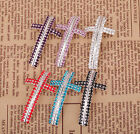 Silver Plated Rhinestone Crystal Cross Curved Tube Spacer Connectors
