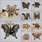 Alloy metal CZ crystal rhinestone turtle butterfly animal adjustable ring
