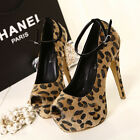 Women's Sexy Peep Toe Leopard High Heel Platform Mary Janes Pumps Club Shoes 1n1