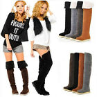 Womens Ladies Fashion Over the Knee Flat  Warm Winter Snow Boots UK 2.5-6.5