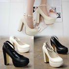 Women's Pumps High Thick Heel Kitten Strappy Detachable Ankle Strapped Shoes