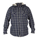 MENS BIG BRANDED D555 ARCHIE CHECK HOODED LONG SLEEVE SHIRT KING SIZES 3XL TO 6X