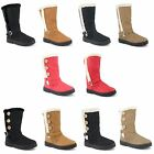 Womens Ladies Flat Knee High Calf Quilted Fur Lined Girls Winter Snow Boots 3-8