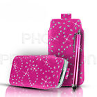 BLING PU LEATHER PULL TAB CASE COVER POUCH & STYLUS FOR VARIOUS MOBILE PHONES