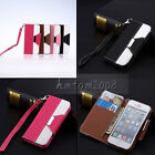 Hybrid Leather Flip Credit Card Wallet Stand Hard Case Cover Fr iPhone 5 5S 4 4S