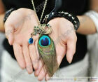 Hot 32CM Blue Eyes Peacock Feather Pendant Chain Necklace