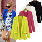 S-XL Women OL Solid Fold Sleeve Slim Fit Suit Blazer Casual Business Coat Jacket