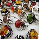 Charms 20pcs Mix large Vintage Amber Antique Silver Rings Wholesale Jewelry Lots