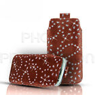DIAMOND BLING LEATHER PULL TAB SKIN CASE COVER POUCH FOR VARIOUS PHONES/MOBILES