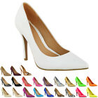 WOMENS LADIES MID HIGH HEEL WEDDING BRIDAL PARTY PROM STILETTO COURT SHOES SIZE
