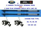 2 LINEAEFFE TELESCOPIC CARBON RODS+SOL REELS SEA COARSE FISHING 6,7,8,9,10,12 FT