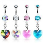 Prism Crystal Dangle Heart Navel Belly Bar - Choose Colour