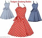VINTAGE FLORAL SWING 50'S HALTER NECK DRESS PARTY SUMMER RETRO NEW SIZE 12-24