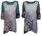 SALE ITEM WAS £39.99 CO2 Paris SK3432D Womens Floral Tunic Dip Hem Top