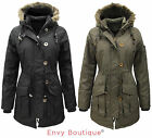 BRAVE SOUL LADIES MILITARY FUR HOODED PADDED QUILTED PARKA JACKET COAT SIZE 8-16