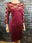 n81*ragged WOMANS 3/4 SLEEVED LACE RED MILANO KNIT SHIFT DRESS SZ 12 14 16 18 20