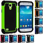 Black Hybrid Rugged Matte Shockproof Case Cover for Samsung Galaxy S4 Mini