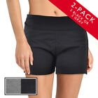2pk Stretch Cotton Yoga Shorts Spandex Gym Run Exercise Wide Foldover Waistband