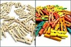 Mini Pegs Wooden Natural Plain Assorted Colours 25mm Pack Of 50 Craft Doll House