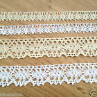 PER METRE cotton vintage effect lace trim cream or white 12mm or 25mm wide