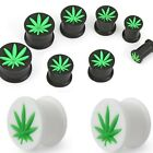 New 1x  Novelty Silicone Ganja Leaf Weed Cannabis Logo Ear Tunnel Black White