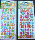 LARGE COLOURFUL LETTERS, NUMBERS, ALPHABET 3D PUFFY REUSABLE STICKERS UK SELLER