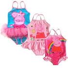 Girls Pink/Blue Peppa Pig Swimsuit Swimming Costume SZ2-6Y Bikini Beach Swimwear