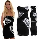 Women's White Black Sequin Celeb Contrast Croos Pattern Ladies New Bodycon Dress