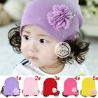New Cute Baby Girl hats Flower Wig Toddler Infant Kids Knit hat Cap 3-12 Months