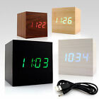 USB Retro Cube Temperature Vioce Control Alarm Wooden Digital LED Desk Clock