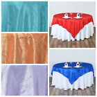 "12 pcs 90x90"" Taffeta Crinkle OVERLAYS Wholesale Wedding Party Table Linens SALE"