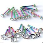 Nose Pin Anodized Rainbow Body Piercing Stud 1.8mm-3mm Gem Ball End 20g 8mm