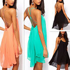 Women Sexy Chiffon Strap Backless Low-cut Beach Slim Cocktail Swing Mini Dress